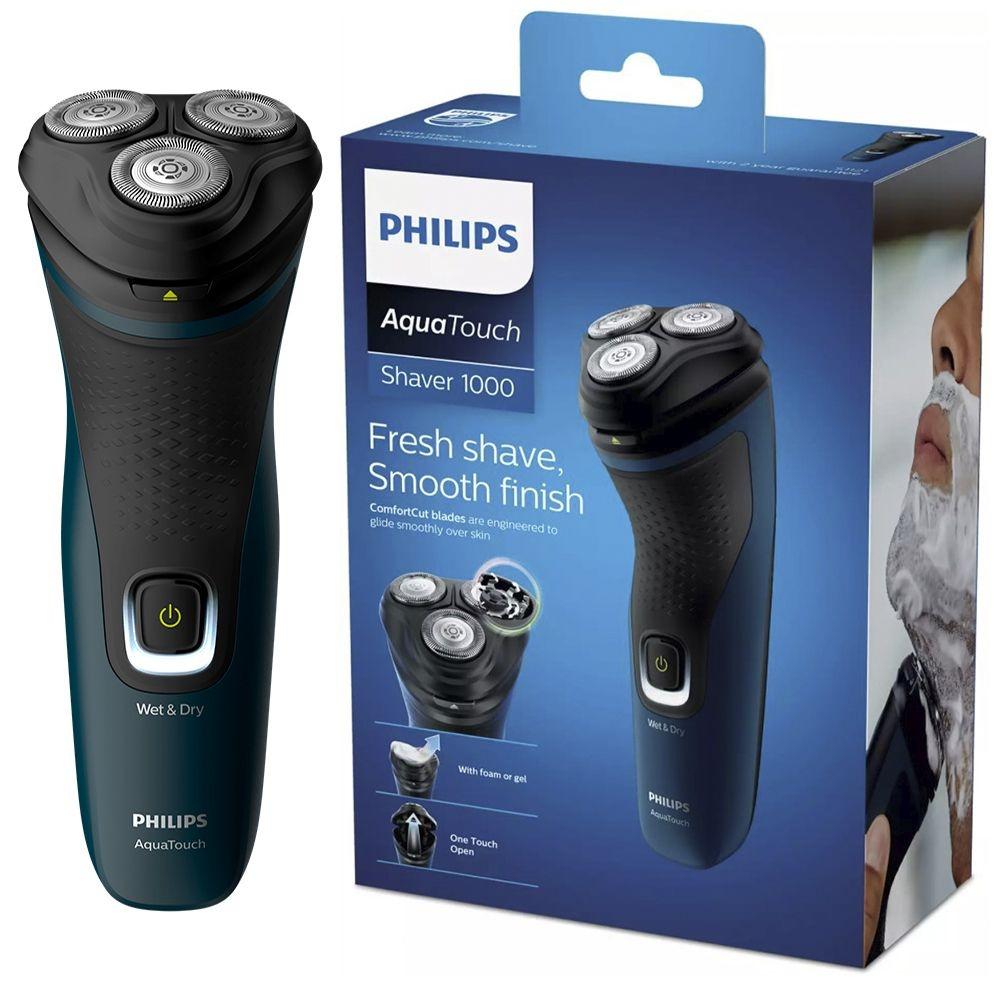 Barbeador Elétrico Philips Aquatouch S1121/41 Shaver - 3 Cabeças de Corte - à Prova D`água - Uso Seco ou Molhado