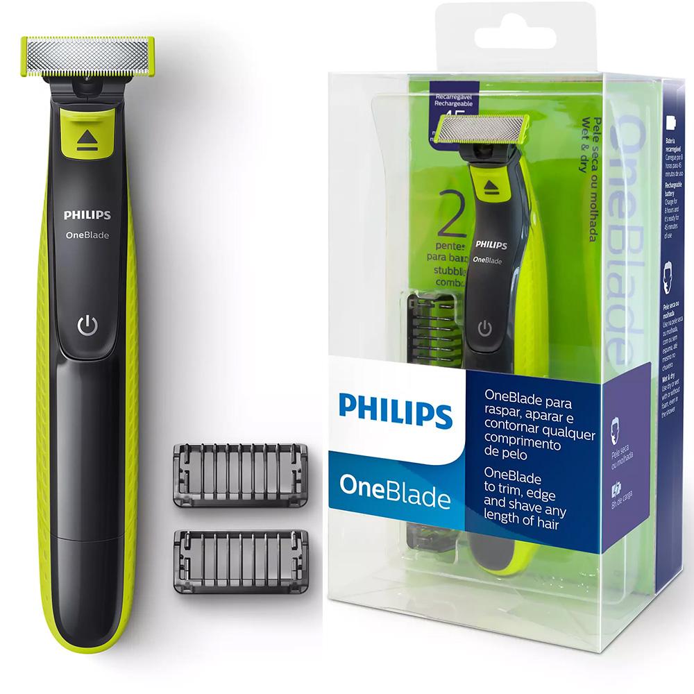 Barbeador Elétrico Philips Oneblade QP2521/10 - À Prova D'água - Uso Seco ou Molhado - com 2 Pentes e 1 Lâmina