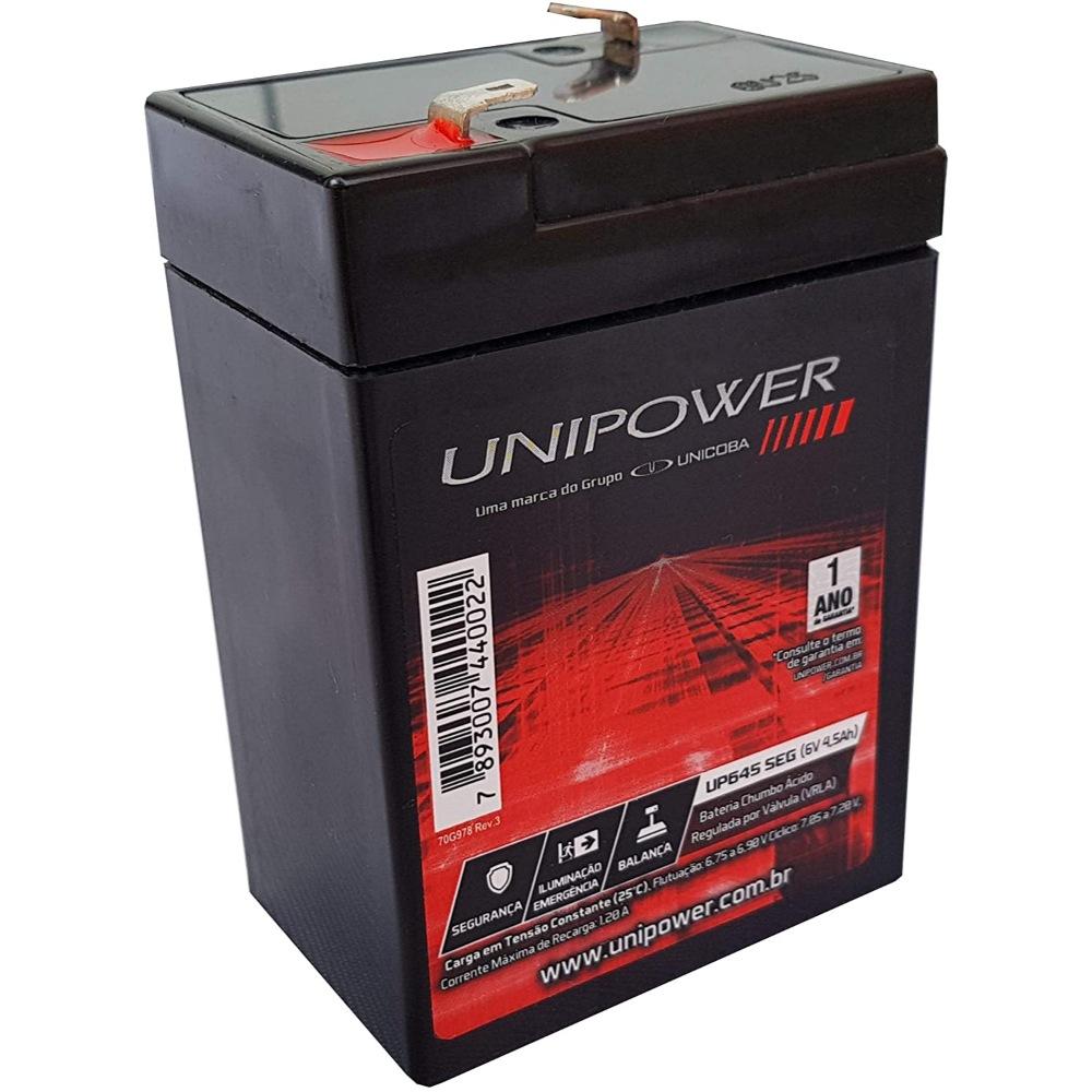 Bateria Selada VRLA 6V 4,5Ah - Sistemas de Monitoramento, Segurança, Balanças e Luz de Emergência - Unipower UP645SEG