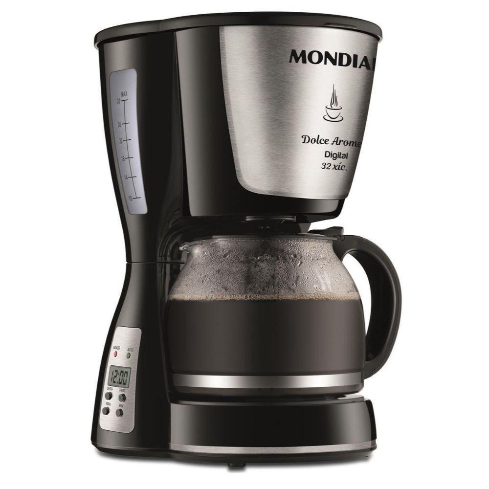 Cafeteira Elétrica Digital Mondial Dolce Aroma Inox - Timer Programável - Filtro Permanente - Jarra 1,2L - C-31DG-32X