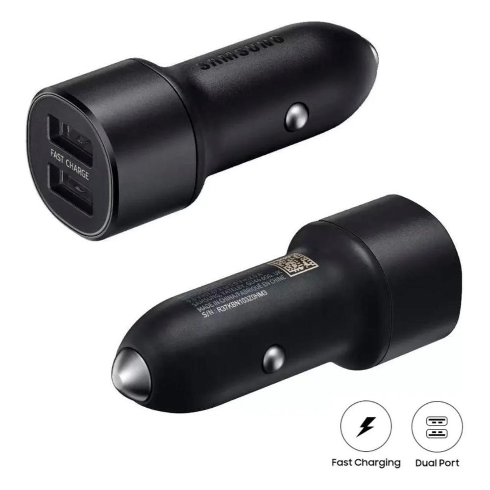 Carregador Veicular Ultra Rápido Original Samsung EP-L1100NBPGBR - 15W - com 2 portas USB - Preto
