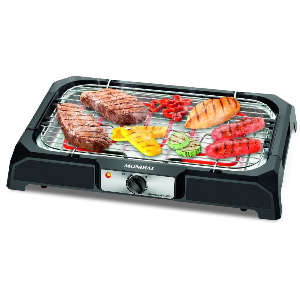 Churrasqueira Elétrica Mondial Grand Steak & Grill CH-05 - 24x41cm - Ajuste de Temperatura e Bandeja de Gordura