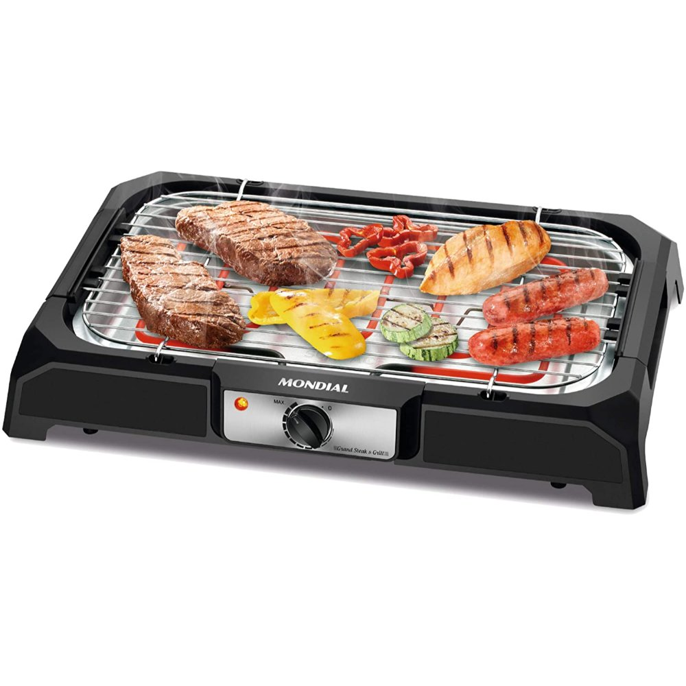Churrasqueira Elétrica Mondial Grand Steak & Grill CH-05 - 24x41cm - Ajuste de Temperatura e Bandeja de Gordura - 1800W