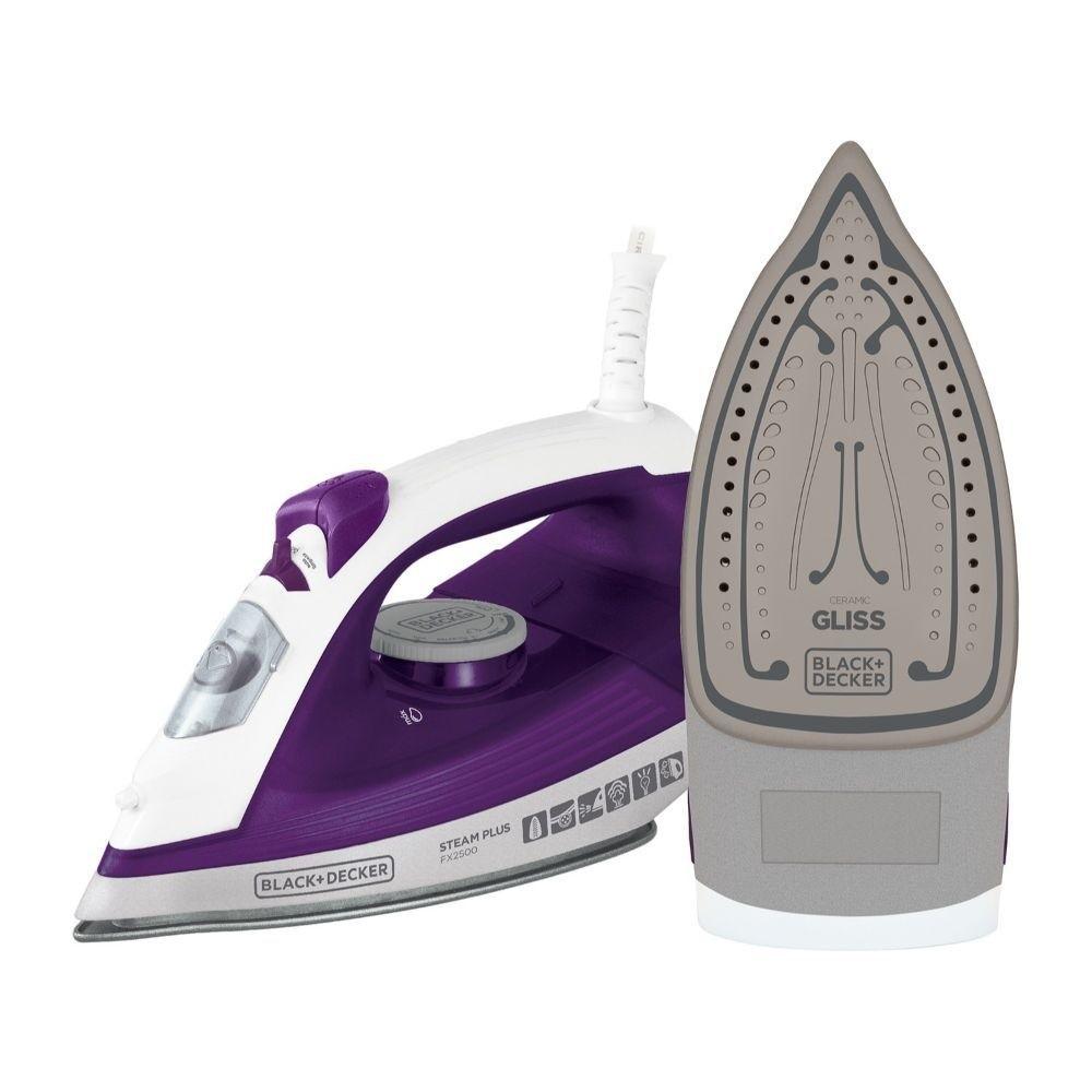 Ferro de Passar a Vapor Black+Decker FX2500 Steam Plus - com Base Ceramic Gliss e Vapor Vertical - Roxo