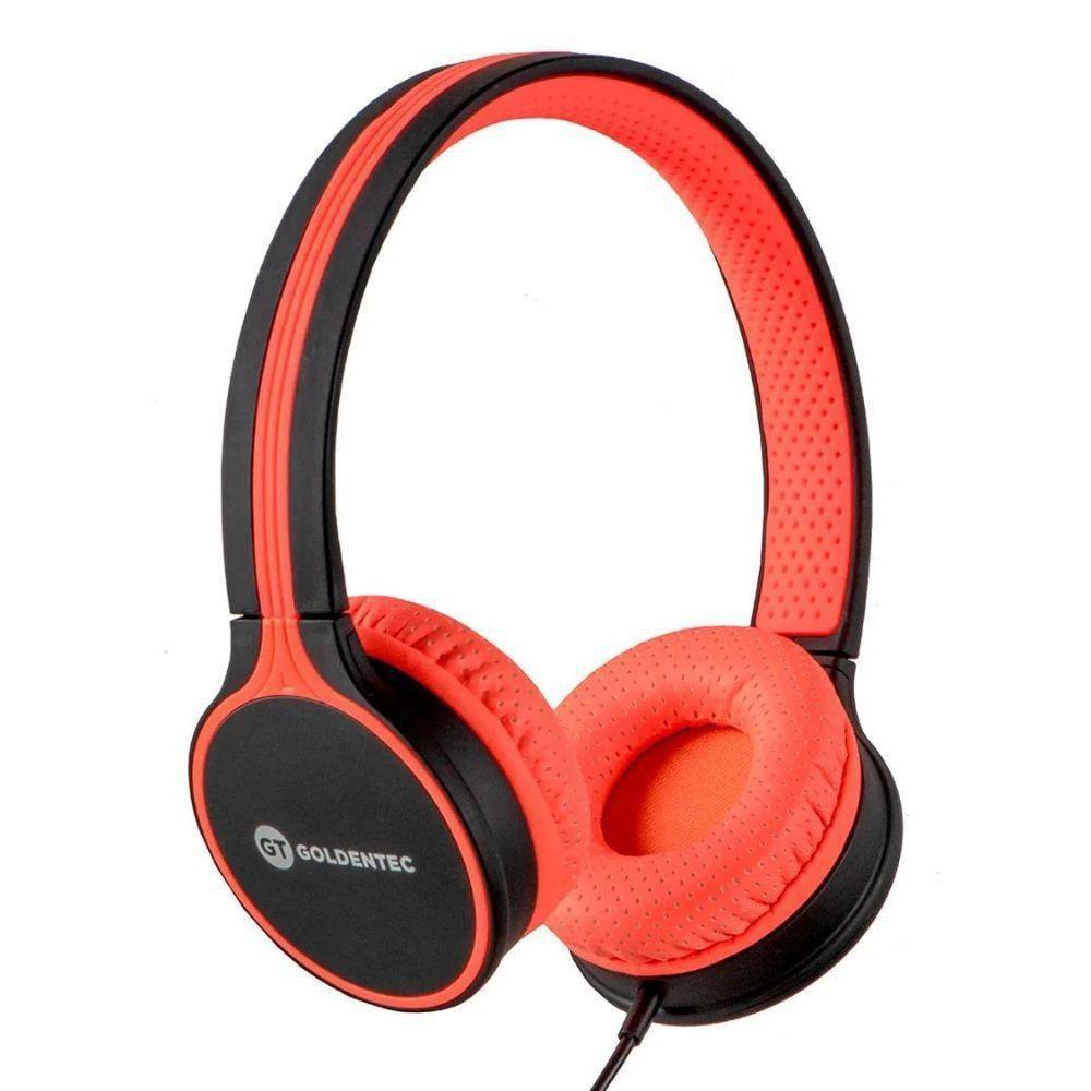 Fone de Ouvido Goldentec GT Duo - com Microfone - Cabo 1,2m - Conector P2 - Laranja - 41398