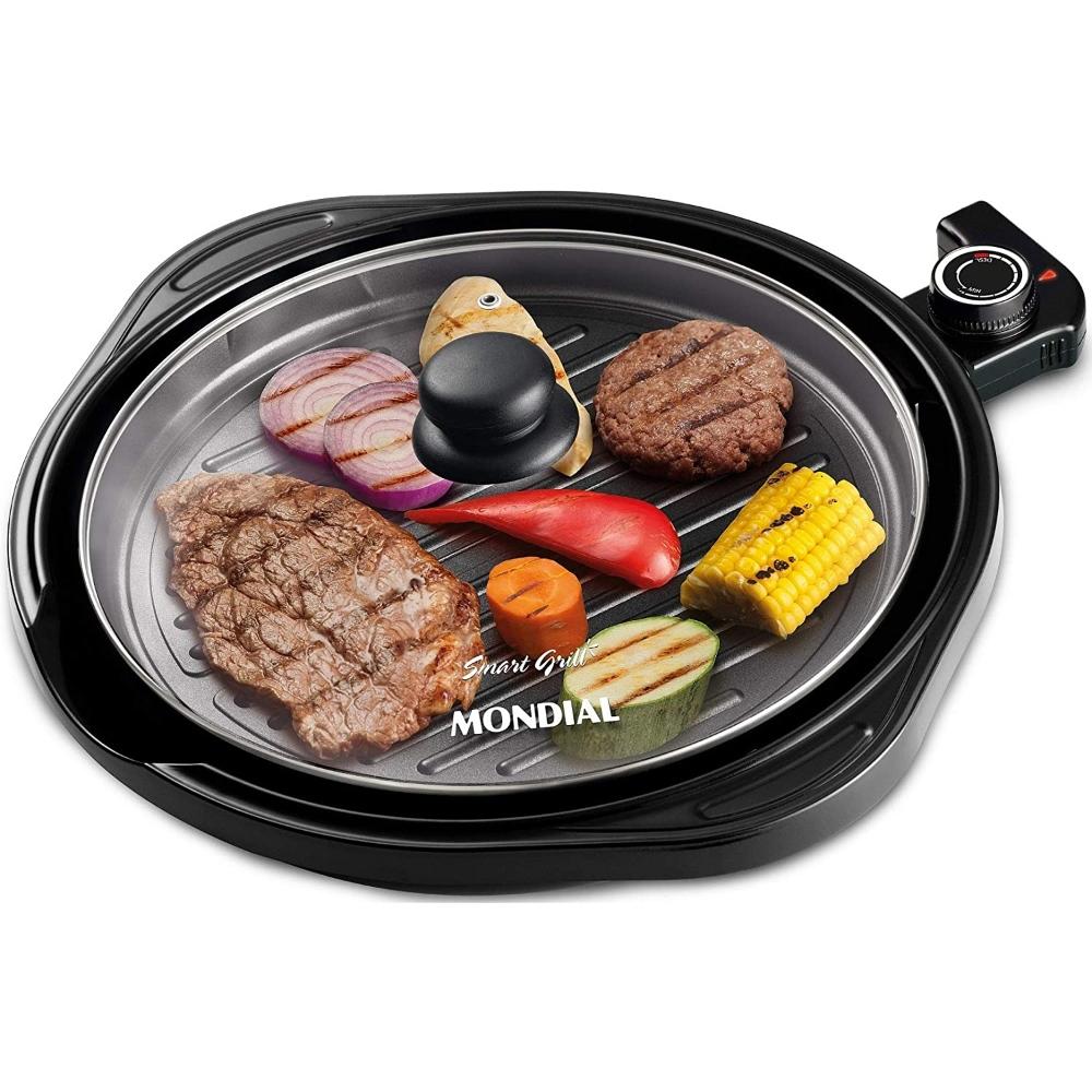 Grill Redondo Mondial G-04 Smart Grill - Chapa Antiaderente - 30cm - Controle de Temperatura - 1200W