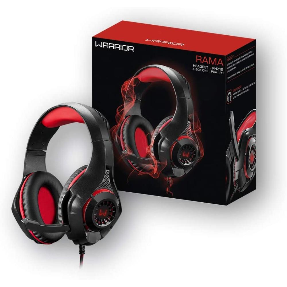 Headset Gamer Multilaser Warrior Rama PH219 - LED Vermelho - Conexão P3 e USB + Adaptador P2 -Compatível Multiplataforma
