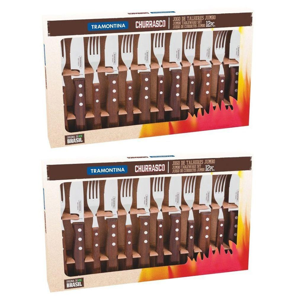 Jogo de Talheres para Churrasco Tramontina Jumbo 24 Peças - Lâminas em Aço Inox e Cabos de Madeira Natural - 22299/059