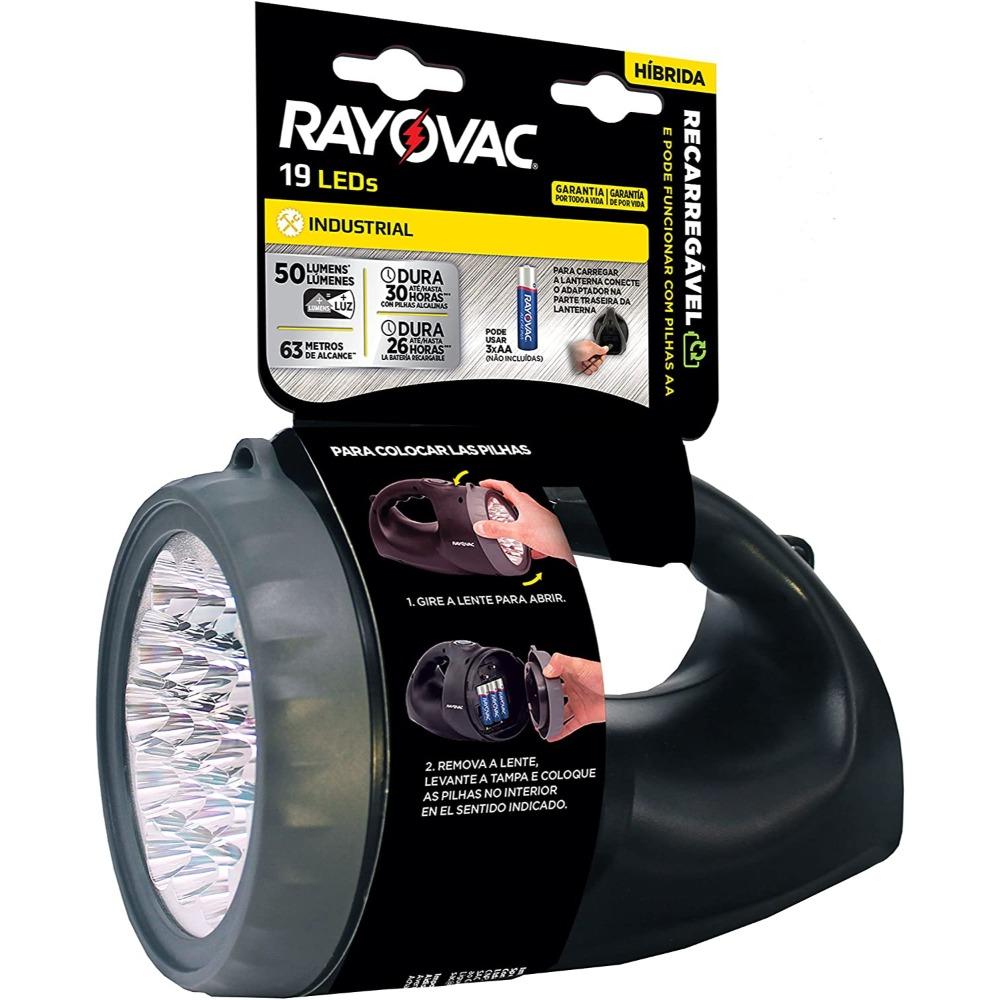 Lanterna Recarregável Híbrida Rayovac - 19 LEDs, 50 Lúmens, Alcance 63 metros - Resistente à água - R19LED110V220V