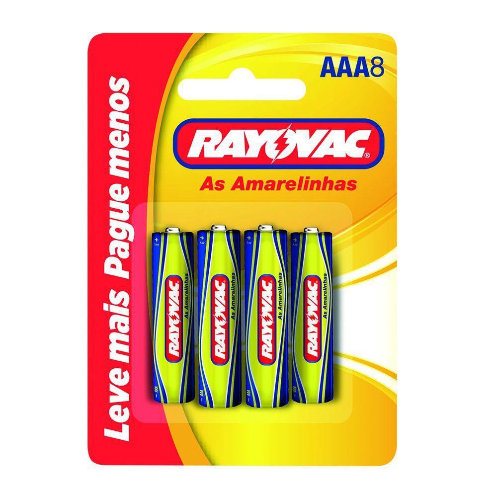 Pilha AAA Palito Comum Rayovac As Amarelinhas - Cartela com 8 Unidades - 10315