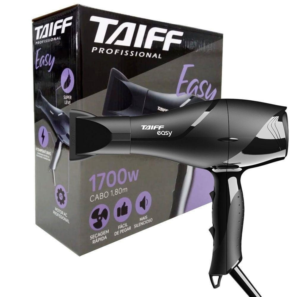 Secador de Cabelo Profissional Taiff Easy - 2 Velocidades, 2 Temperaturas - Cabo 1,8m - Motor AC Profissional - 1700W