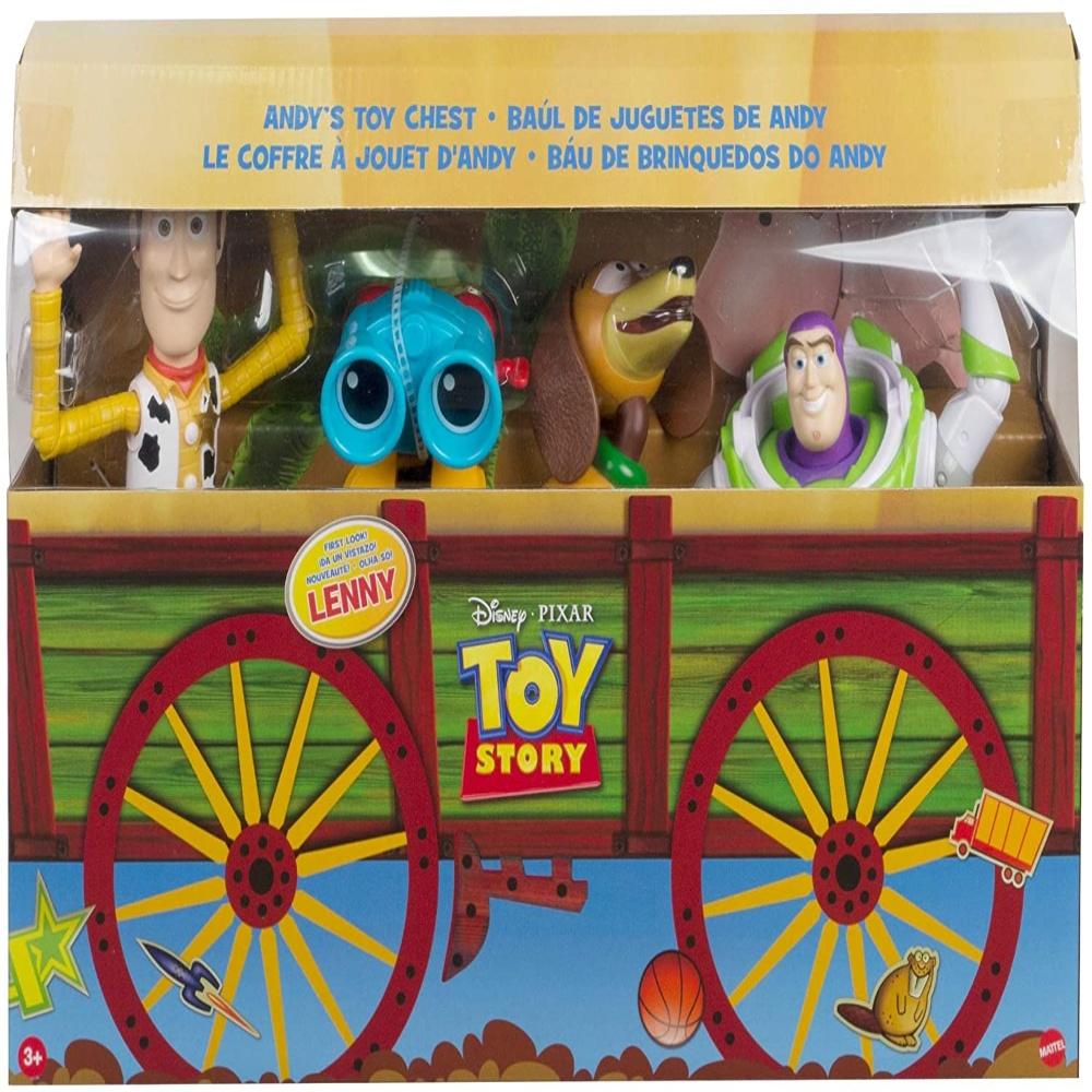 Toy Story Baú de Brinquedos do Andy, Conjunto de 4 Figuras de Ação Woody, Binóculos Lenny, Cachorro Slinky e Buzz Lighty