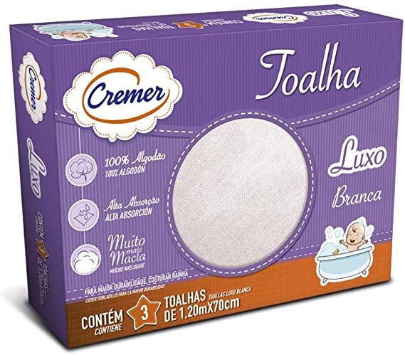 Toalha Fralda       Cremer      (Pinte e Borde)      70x1,20 cm      - Pacote com 3 Unidades