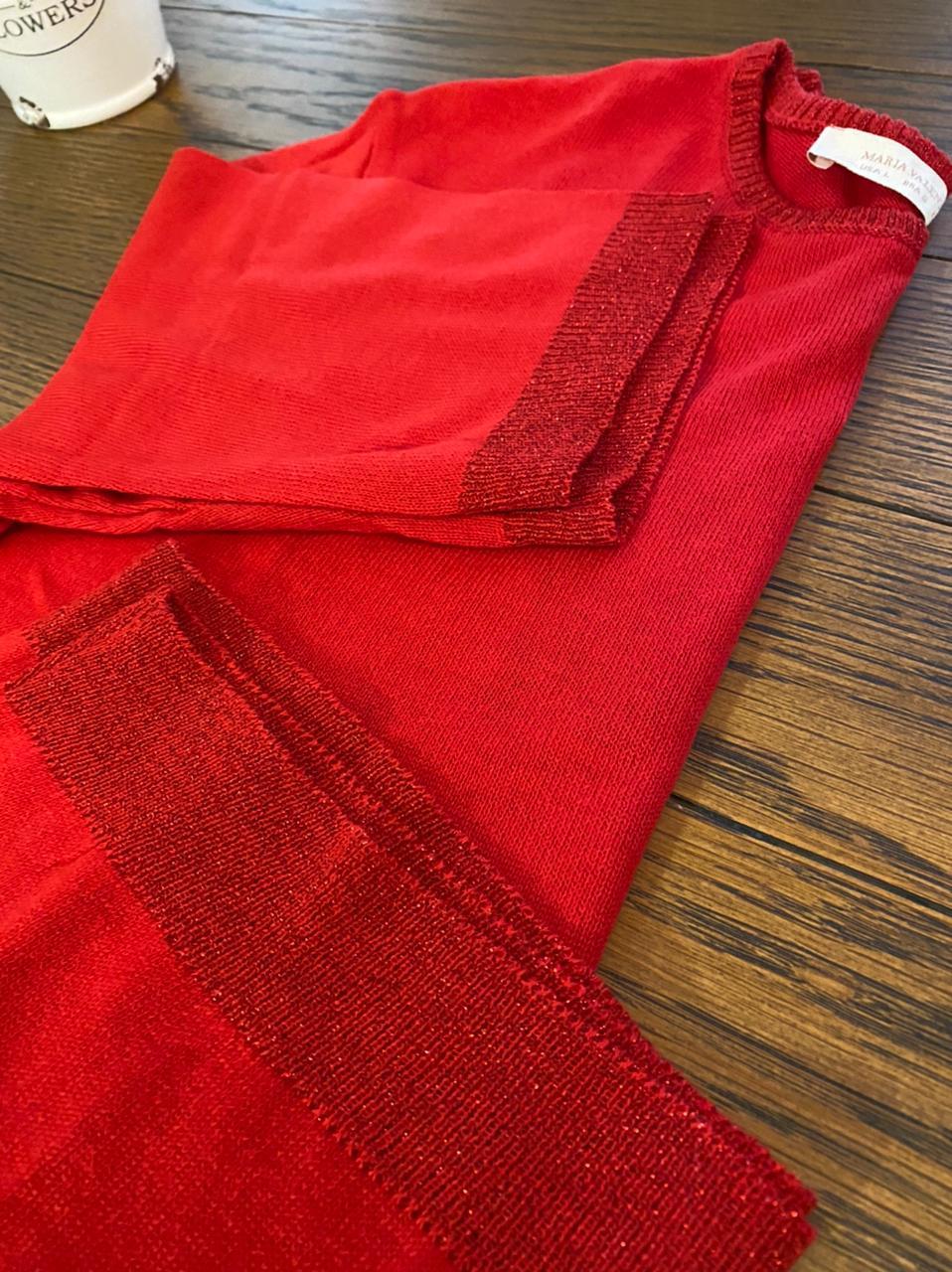 Blusa Tricot Fio Metalizado Red Maria Valentina