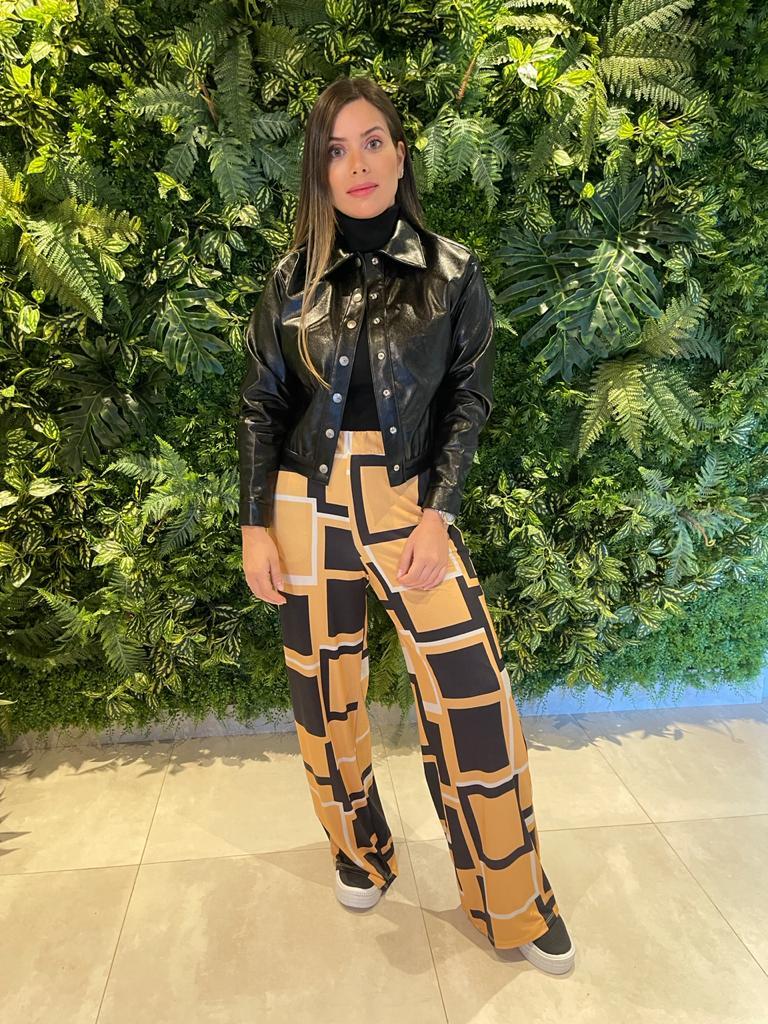 Calça Pantalona Arabescos Maria Valentina