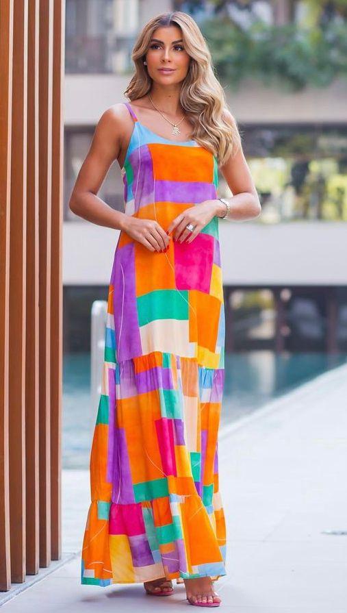 vestido Longo estampado Isabela