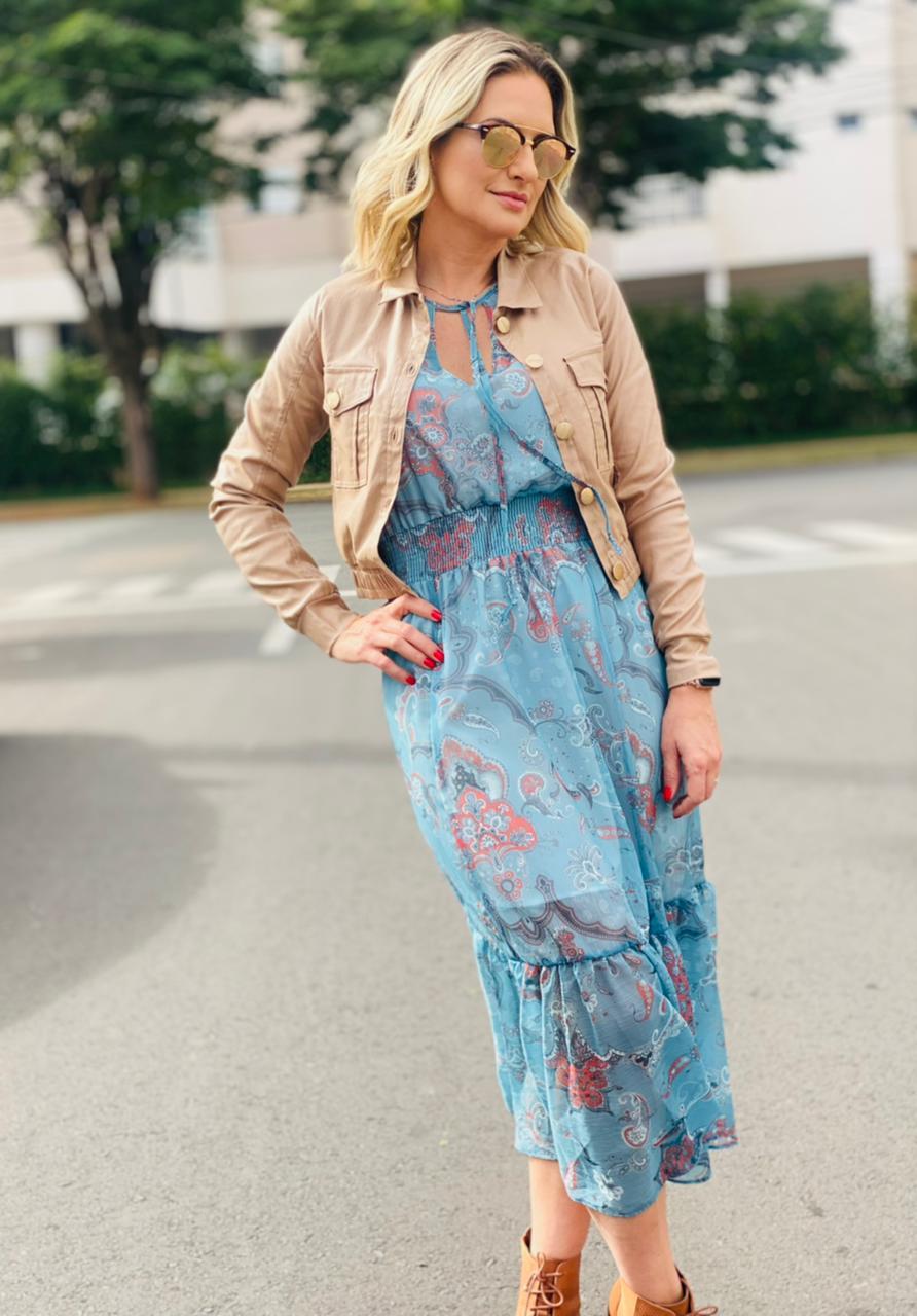 Vestido Midi Boho Turquesa GB