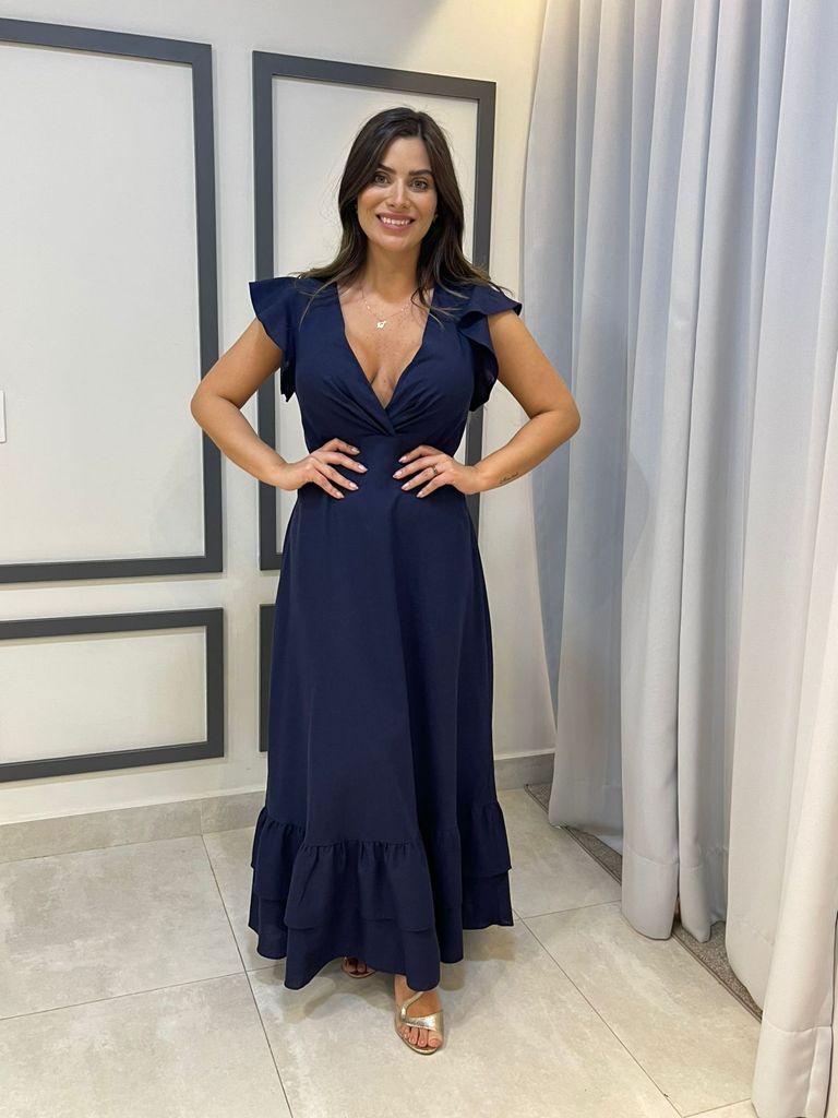 Vestido Midi com Babado Maria Valentina