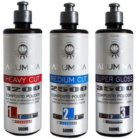 Kit Polimento Alumina Corte, Refino e Lustro 500ml Easytech