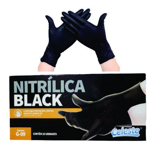 Luva Nitrilica Black G 20 Unidades CELESTE