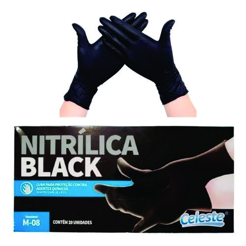 Luva Nitrilica Black M 20 Unidades CELESTE