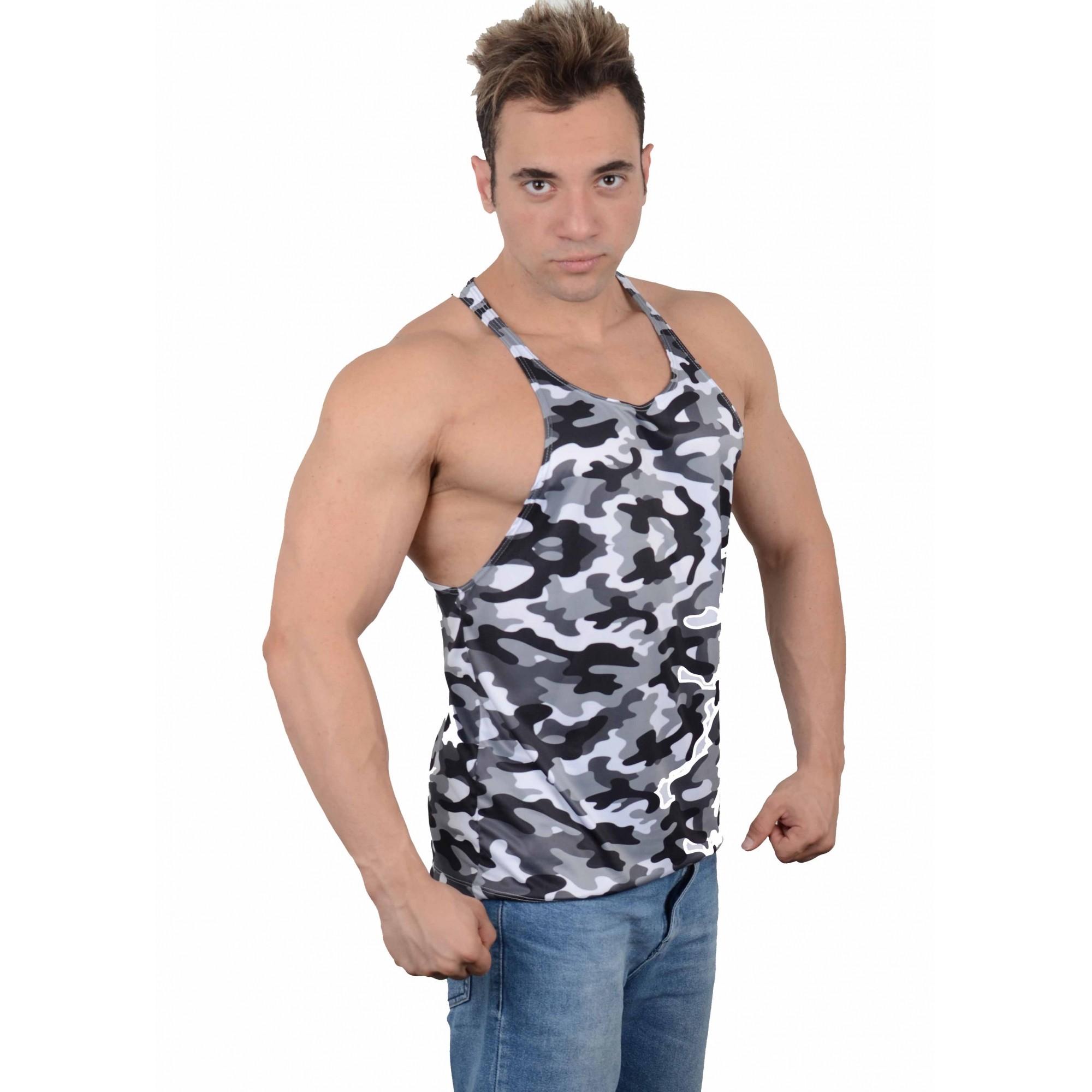Camiseta Regata Academia Super Cavada Camuflagem Urbana Cinza