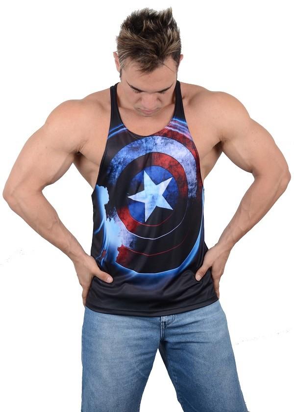 Camiseta Regata Academia Super Cavada Capitão america