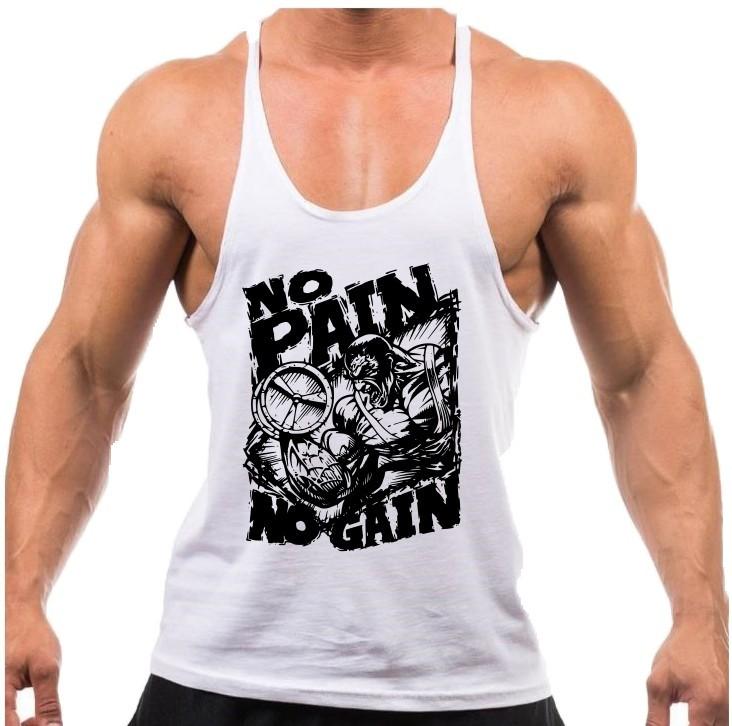 camiseta regata tank top no pain no gain