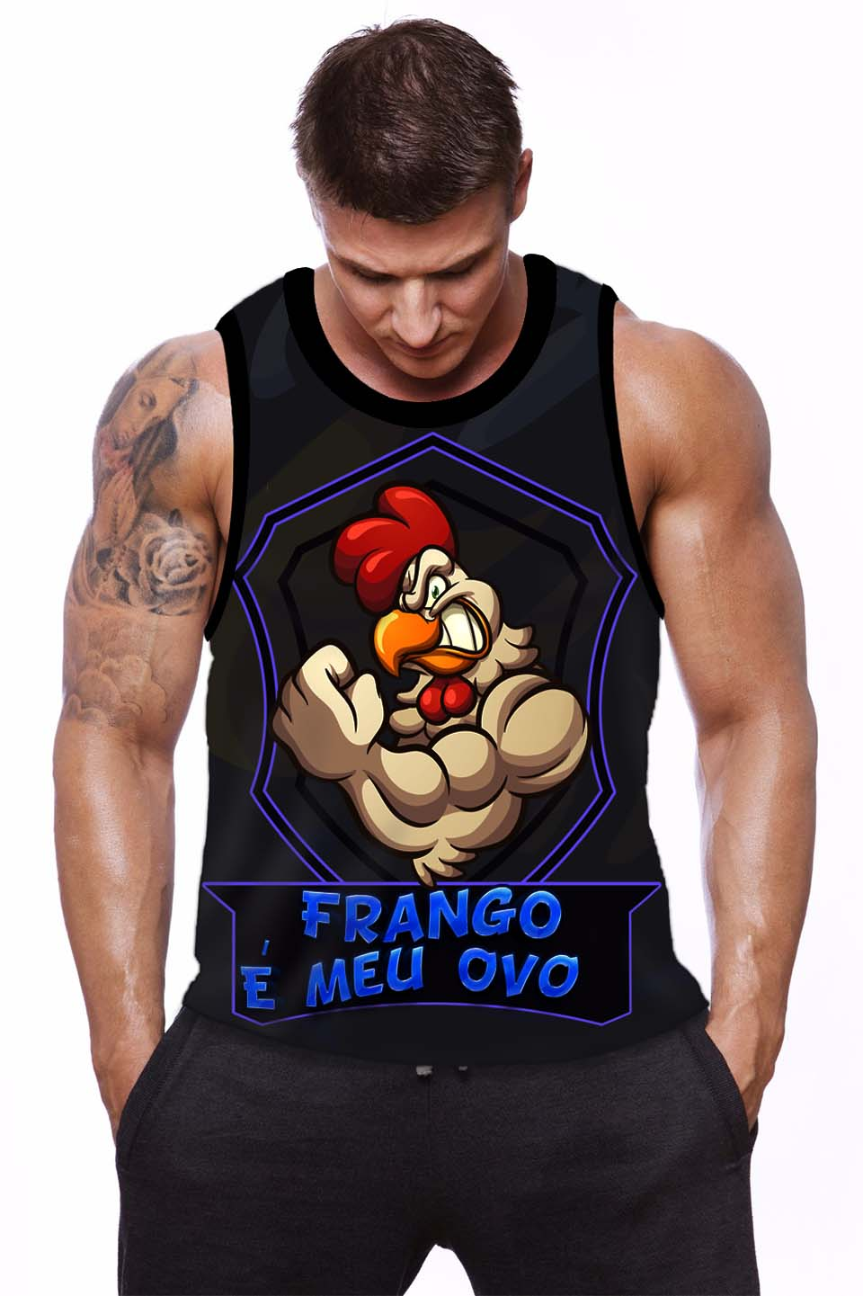 REGATA FITNESS MACHAO  Frango é meu ovo