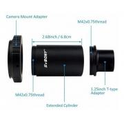 Kit 3 peças com Tubo Extensor p/ Canon ou Nikon M42 Rosca T-mount + Anel T2 - SVBONY