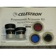 """Oculares e Filtros - 5 peças - Kit de Acessórios 1,25"""" - CELESTRON"""