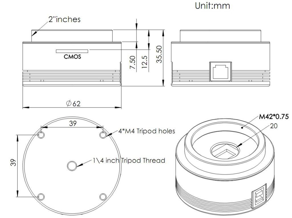 Câmera ASI - 120MC-S Colorida USB E ST4 Port + Box Original ZERO - CONJUNTO ZWO