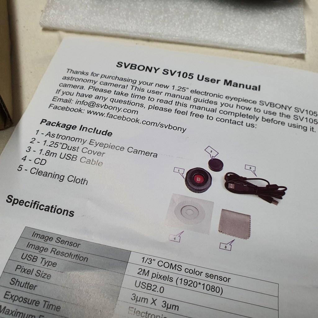 Câmera Planetária Colorida USB - Modelo SV105 - SVBONY