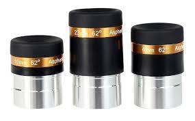 "Conjunto 3 oculares - 1,25"" - Aspherics 4mm, 10mm e 23mm - SVBONY"