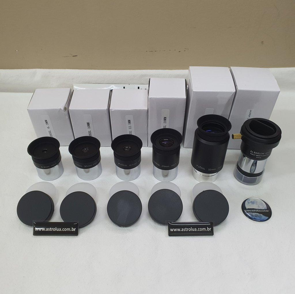 Kit com 6 Peças - 5 Oculares e 1 Lente Barlow - PLOSSL