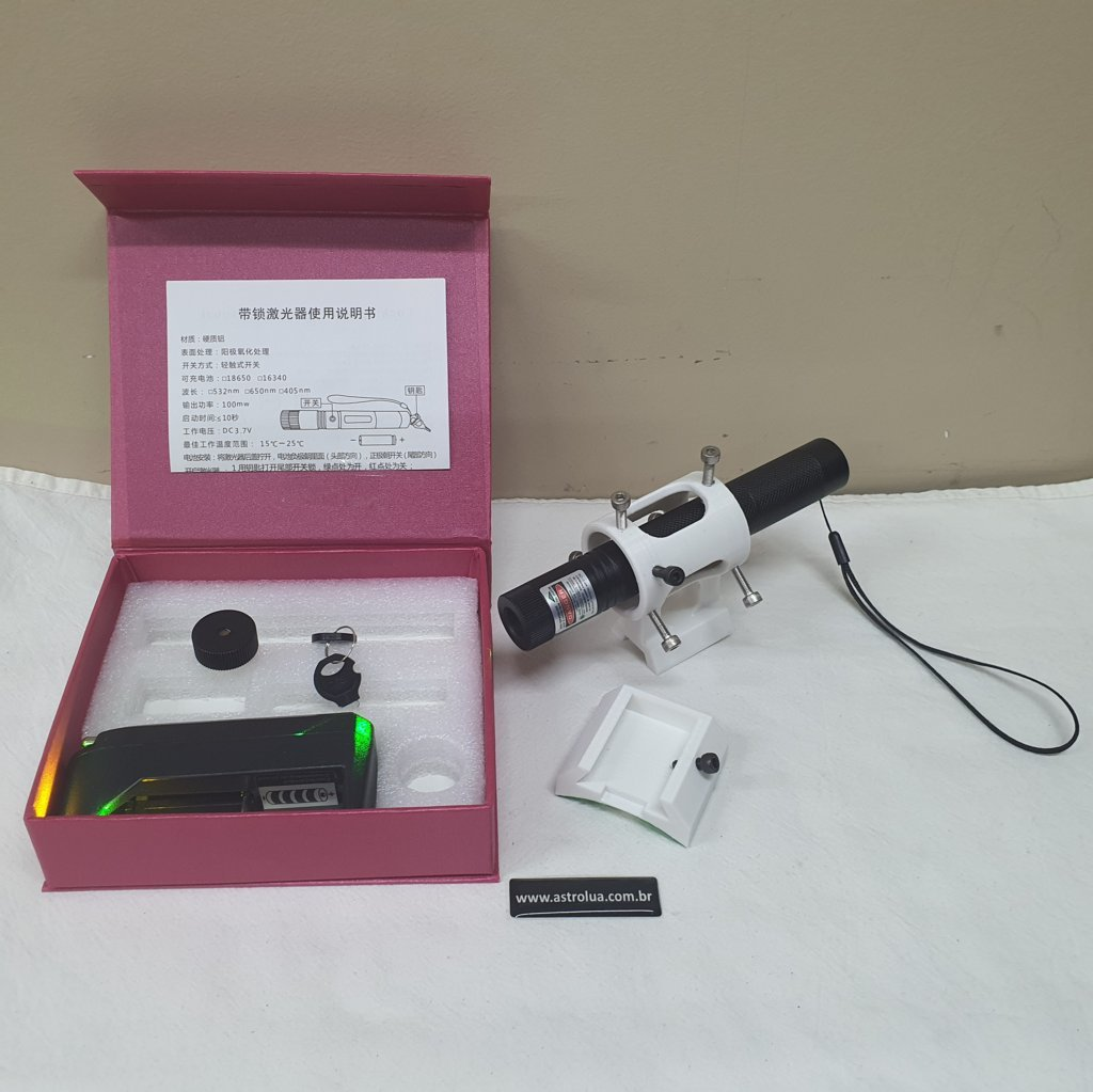 Kit Super Laser Verde + Suporte + Sapata - White ABS 3D - ASTROLUA