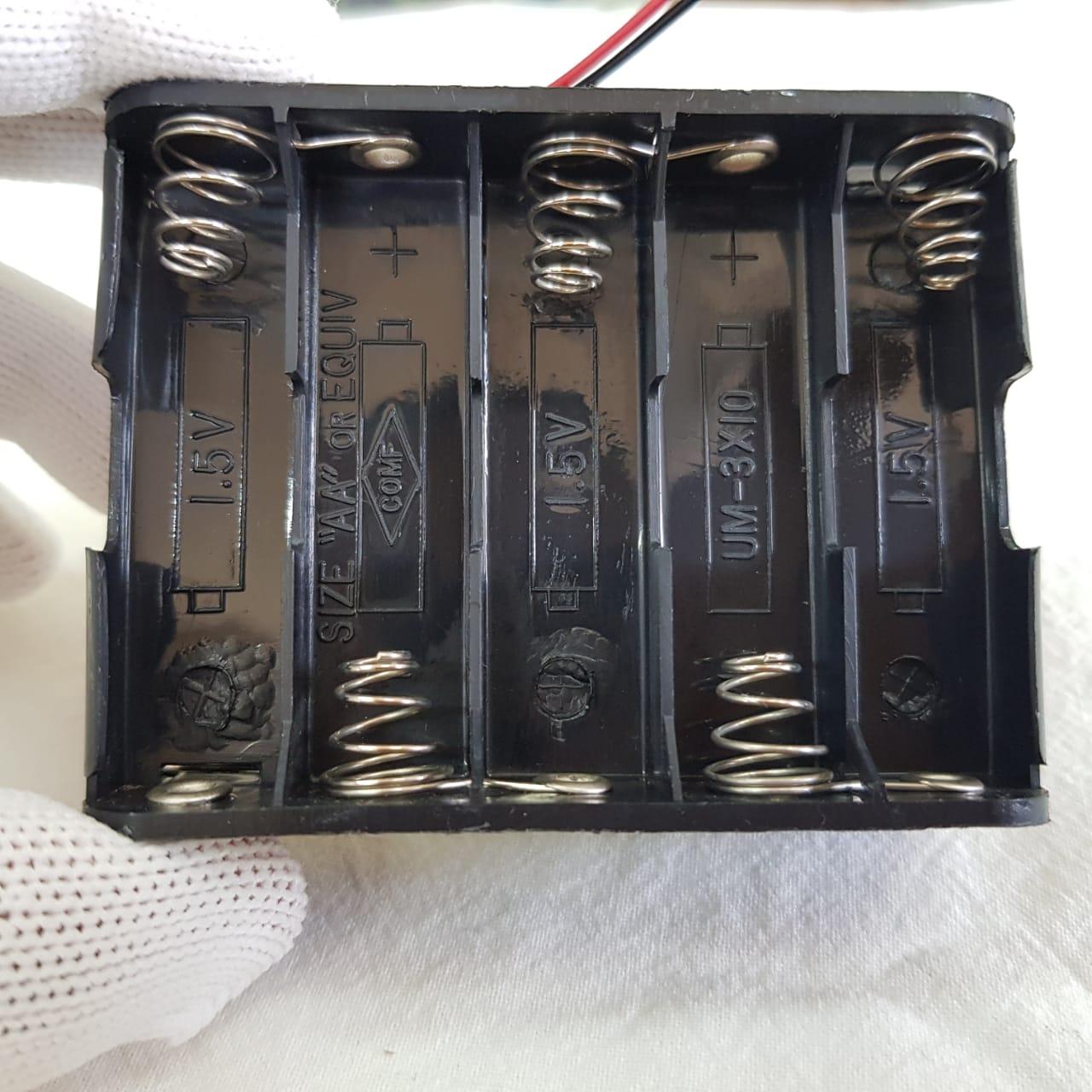 Porta Pilhas AA - até 15V  -  10 slots + Cabo com Plug P4 - ASTROLUA