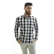 Camisa Flanelada Xadrez Branco e Preto Slim Fit - Live the Life