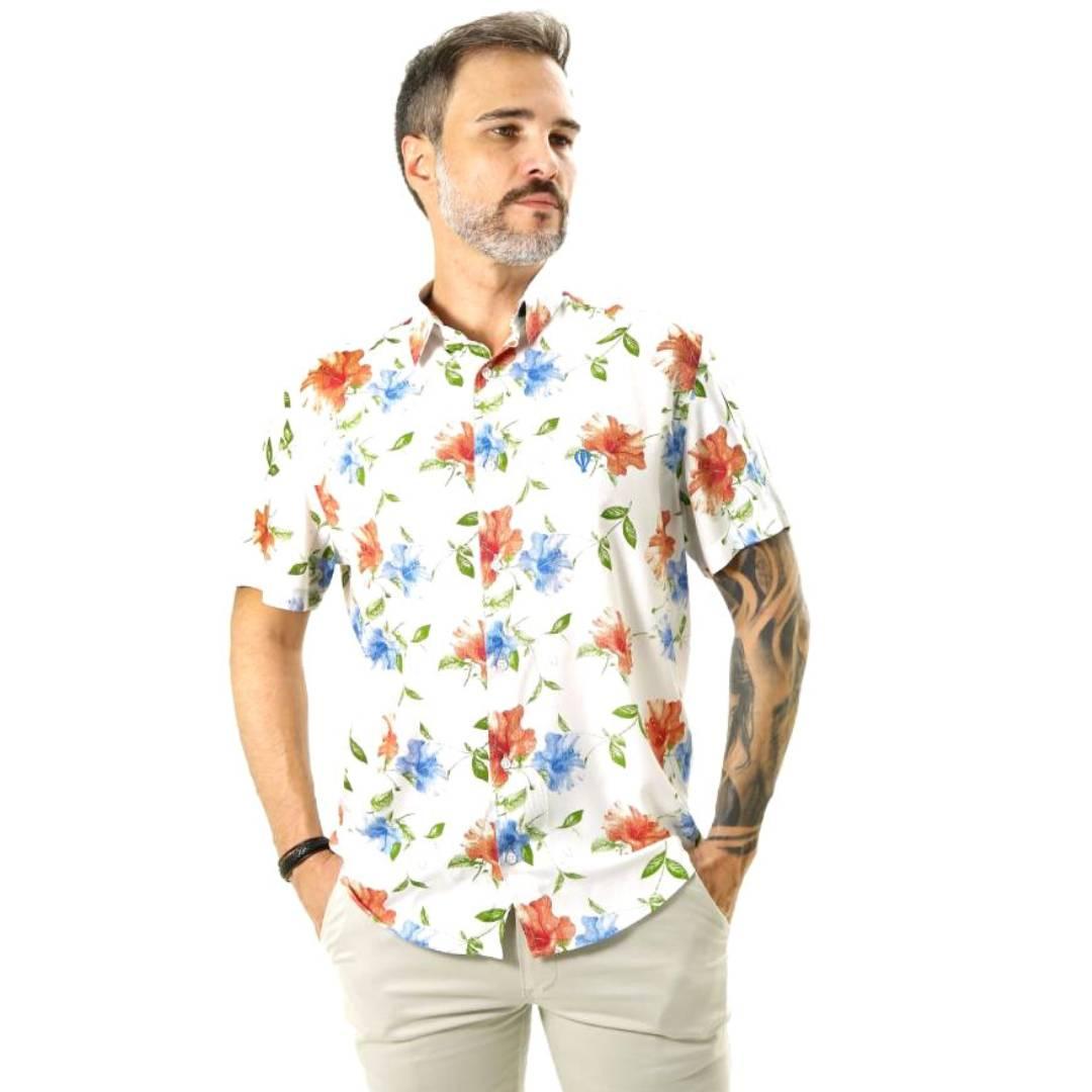 Camisa Manga Curta Live the Life Floral Branco/Vermelho