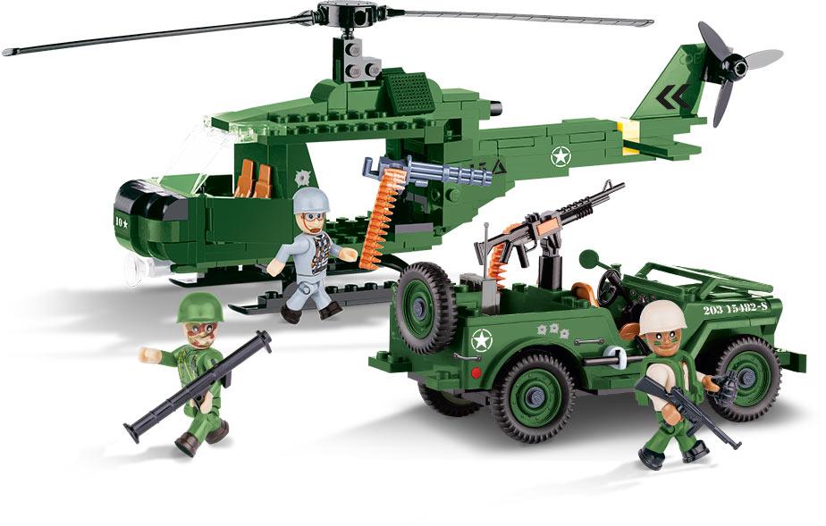 Bloco de Montar Jeep Willys MB com Helicóptero 250 Peças Cobi