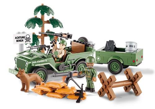 Bloco de Montar Jeep Willys Militar 1/4 Ton Cargo Trailer 190pcs