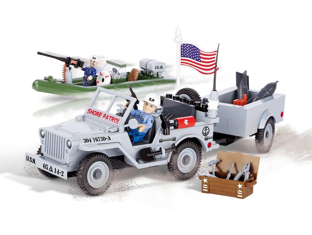 Bloco de Montar Jeep Willys Militar US Marinha180 Peças - Cobi