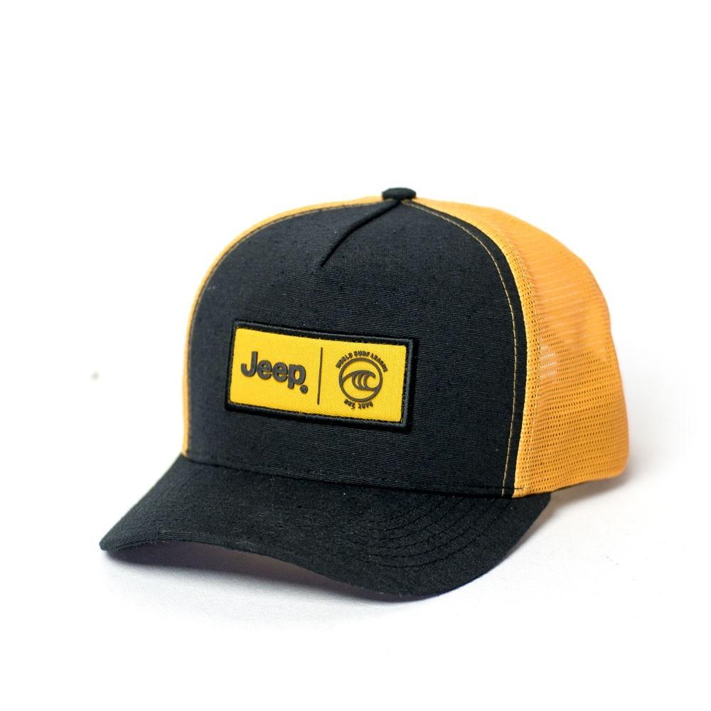 Boné JEEP e WSL Trucker - Preto / Amarelo Claro