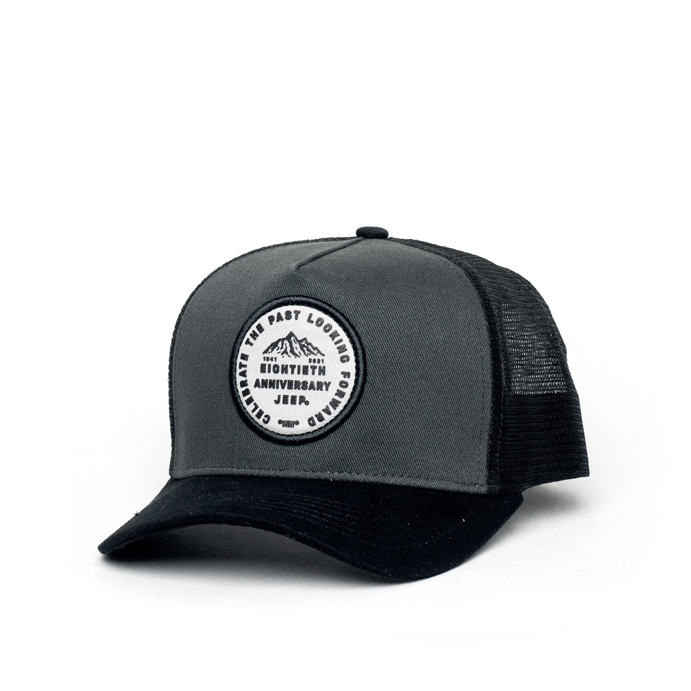 Boné Trucker JEEP 80th Anniversary Patch - Chumbo/Preto