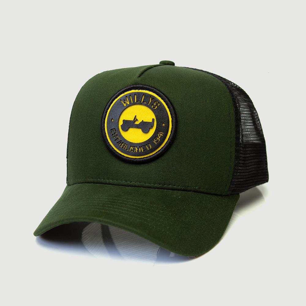 Boné Trucker JEEP Willys Estabilished - Verde/Amarelo