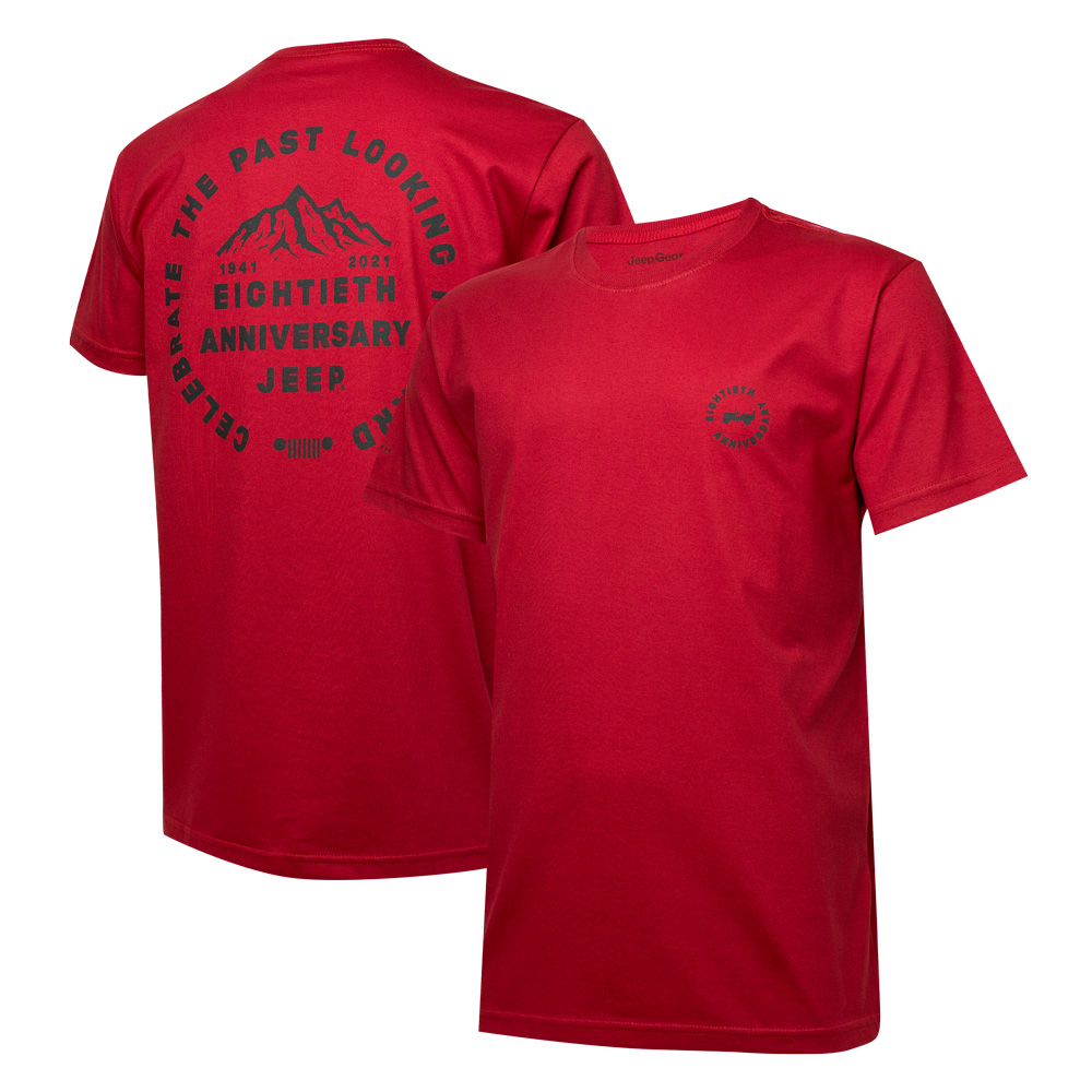 Camiseta Masc. DTG JEEP 80th Anniversary Round - Vermelha
