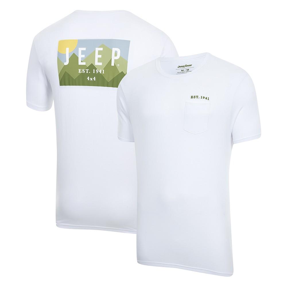 Camiseta Masc. JEEP Landscape com Bolso Branca