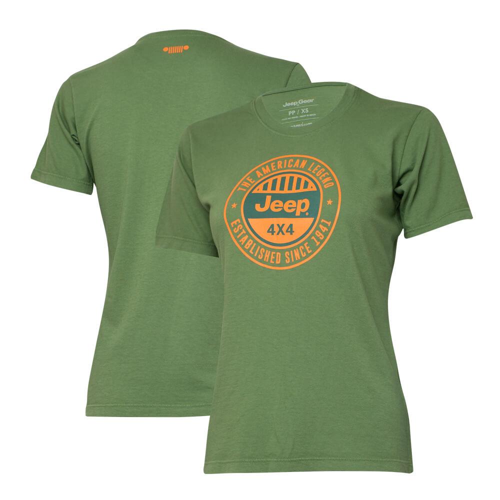 Camiseta Especial Fem. JEEP  Round  Verde Militar