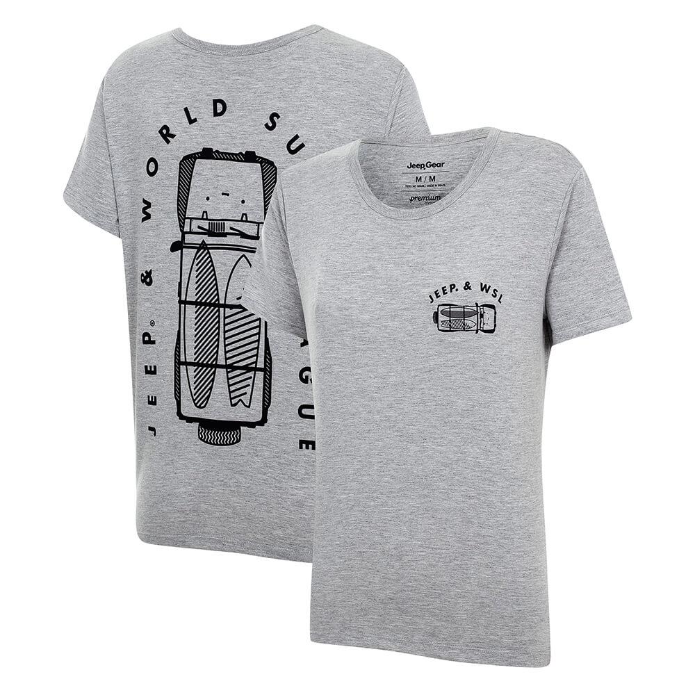 Camiseta Fem. JEEP e WSL Wrangler Trip - Mescla Cinza