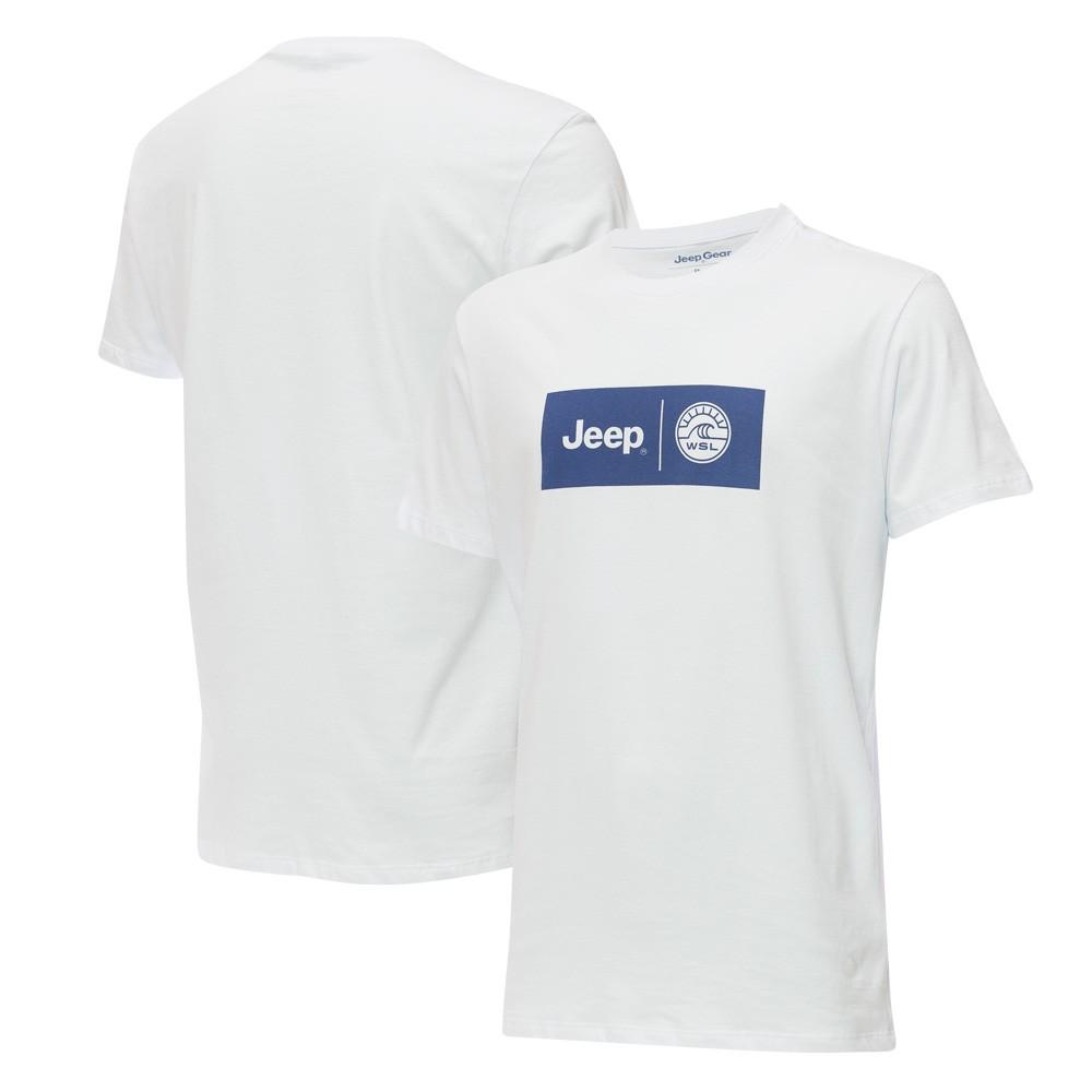 Camiseta Masc.  JEEP e WSL Collab Logo Branca